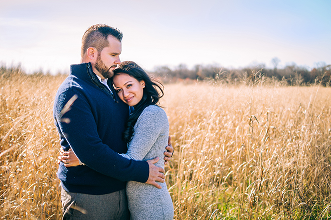 Couple standing in field | Rustic Engagement | Anders Portfolio Photography