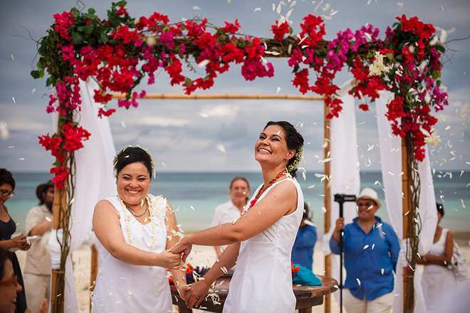 Newly married couple on beach | Same-sex Mayan Beach Wedding | Juan Euan Photography