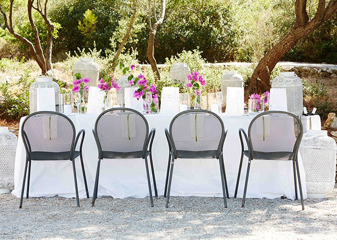 Outdoor dinning wedding at Skiathos Princess Hotel