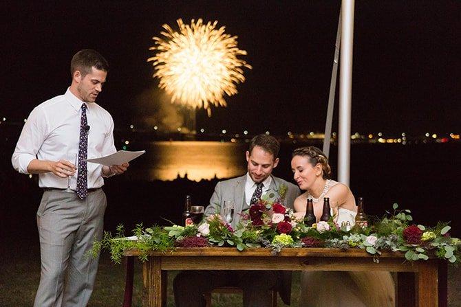 Wedding fireworks | Coastal Fort Wedding in Rhode Island | Ellysia Francovitch Photography