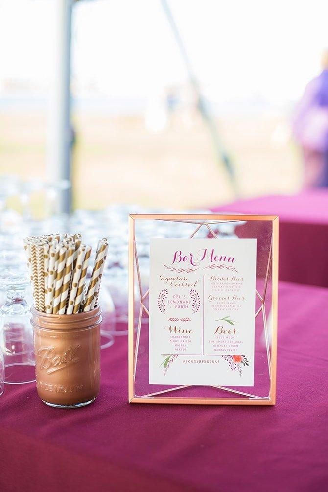 Bar menu | Coastal Fort Wedding in Rhode Island | Ellysia Francovitch Photography
