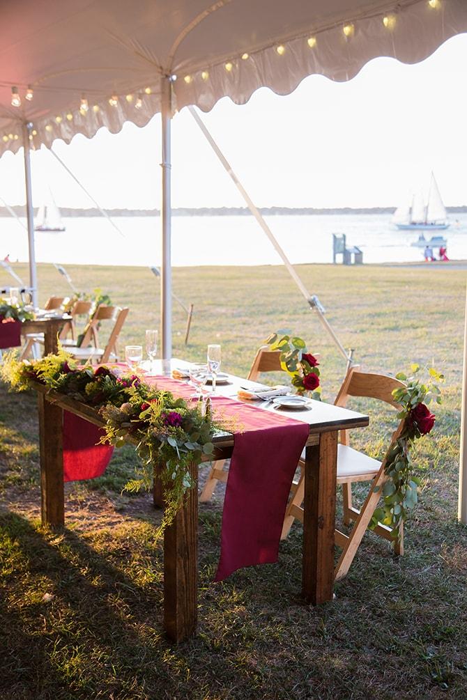 Wedding reception tent | Coastal Fort Wedding in Rhode Island | Ellysia Francovitch Photography