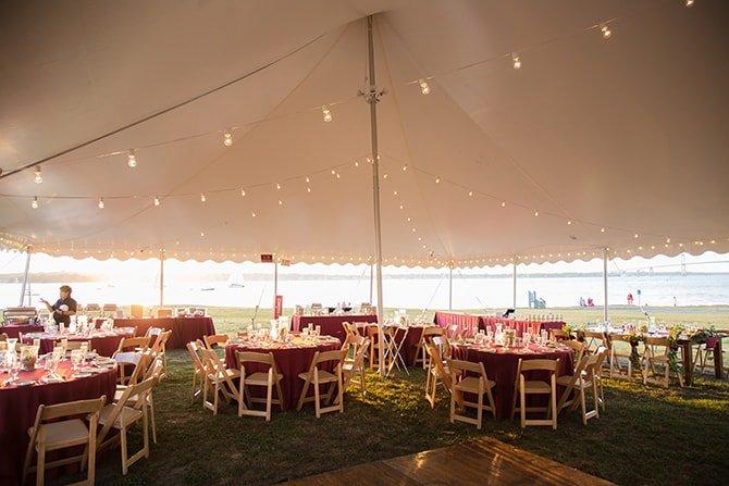 Wedding reception marquee | Coastal Fort Wedding in Rhode Island | Ellysia Francovitch Photography