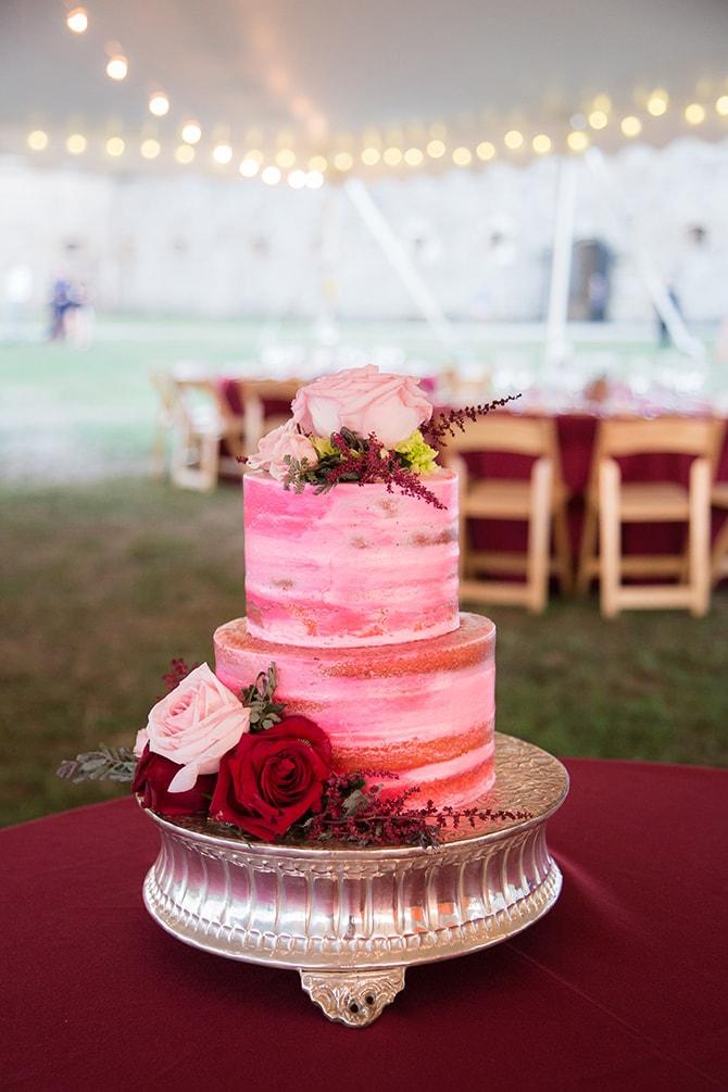 Red ombre wedding cake | Coastal Fort Wedding in Rhode Island | Ellysia Francovitch Photography