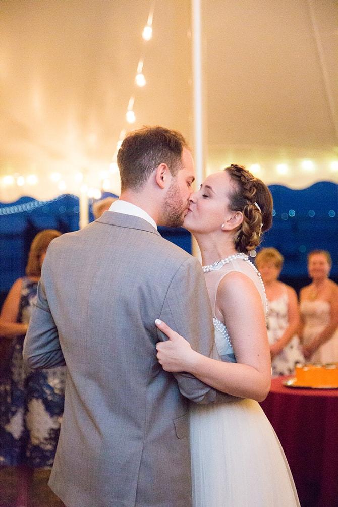 Wedding kiss | Coastal Fort Wedding in Rhode Island | Ellysia Francovitch Photography
