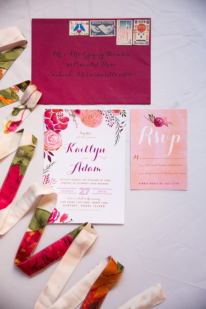 Invitations | Coastal Fort Wedding in Rhode Island | Ellysia Francovitch Photography