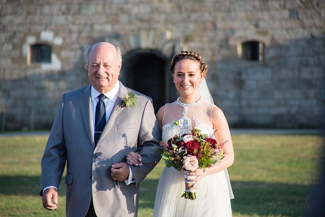 Bride arriving | Coastal Fort Wedding in Rhode Island | Ellysia Francovitch Photography