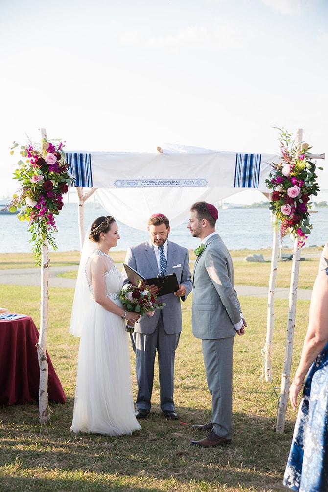 Jewish ceremony | Coastal Fort Wedding in Rhode Island | Ellysia Francovitch Photography