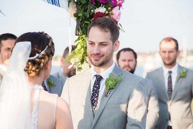 Groom in love | Coastal Fort Wedding in Rhode Island | Ellysia Francovitch Photography