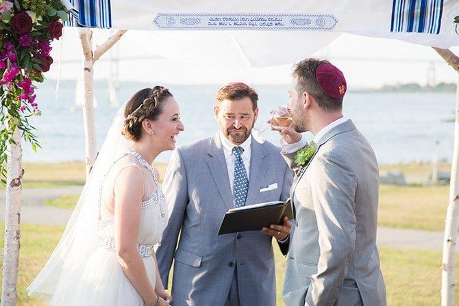 Jewish wedding ceremony | Coastal Fort Wedding in Rhode Island | Ellysia Francovitch Photography