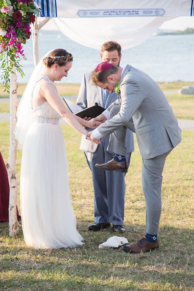 Jewish wedding | Coastal Fort Wedding in Rhode Island | Ellysia Francovitch Photography