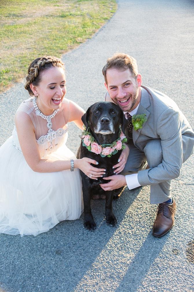 Bride, Groom and Dog | Coastal Fort Wedding in Rhode Island | Ellysia Francovitch Photography