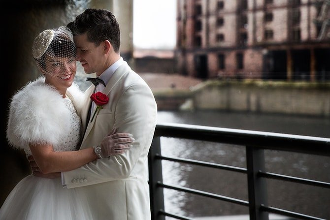 Bride and Groom beside the docks | Hollywood Glamour in Liverpool | Lesley Bee Photography