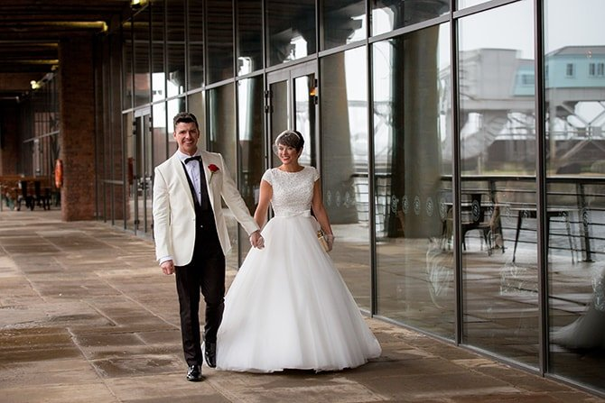 Bride and Groom walking | Hollywood Glamour in Liverpool | Lesley Bee Photography