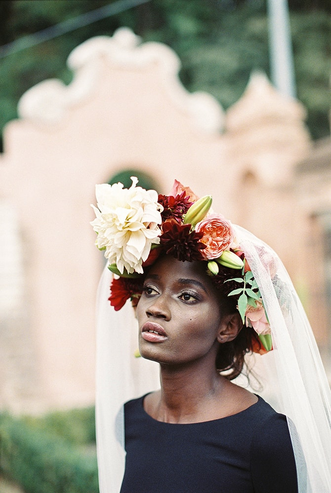 Black bride with flower crown | Black Swan | Sotiris Tsakanikas Photography