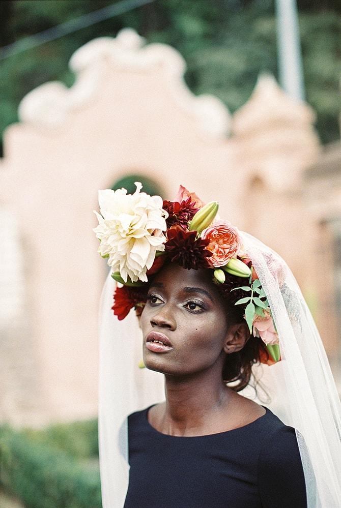 Black bride with flower crown | Black Swan | Sotiris Tsakanikas Photography