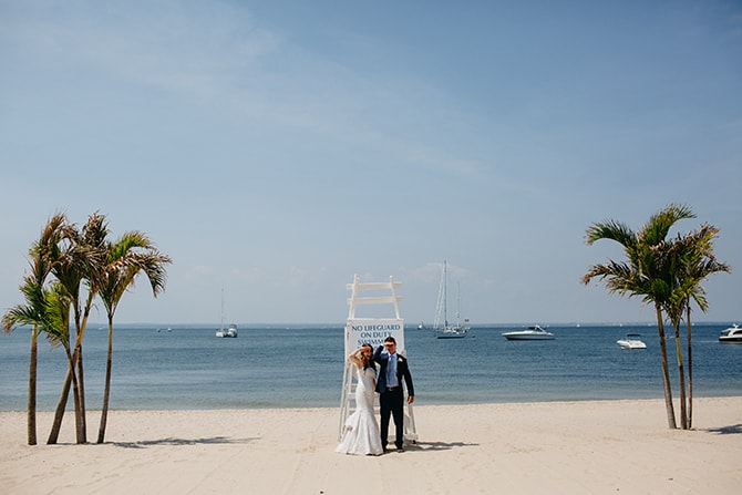 Bride and Groom on beach | Contemporary Beach Wedding in New York | Martina Micko Photo