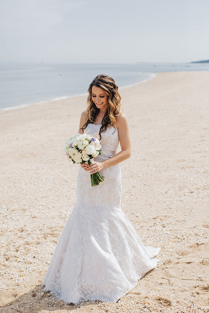 Bride on beach | Contemporary Beach Wedding in New York | Martina Micko Photo