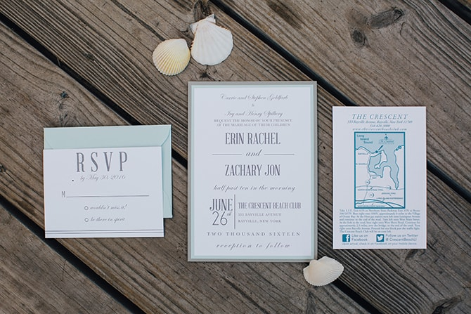 Nautical wedding invations | Contemporary Beach Wedding in New York | Martina Micko Photo