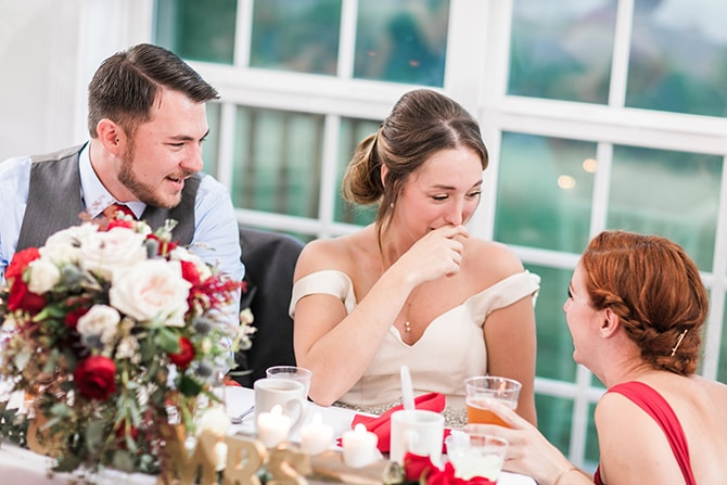 Couple chatting with bridesmaid | Fall Wedding at Historic Virginia Estate | Lieb Photographic LLC