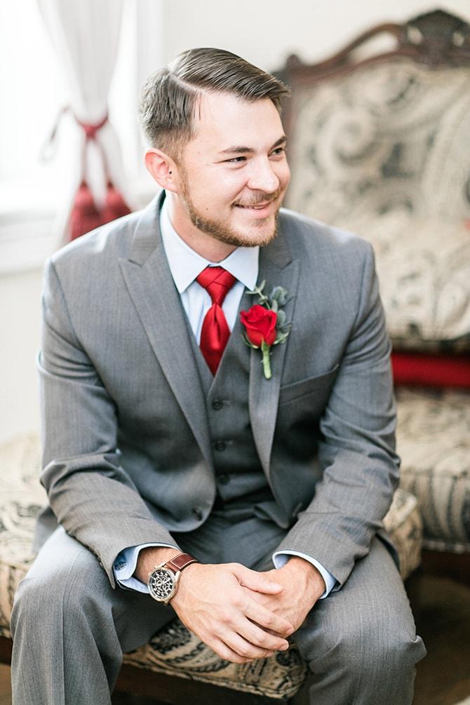 Groom smiling | Fall Wedding at Historic Virginia Estate | Lieb Photographic LLC