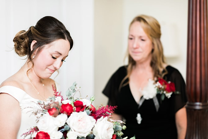 Bride with bouquet | Fall Wedding at Historic Virginia Estate | Lieb Photographic LLC