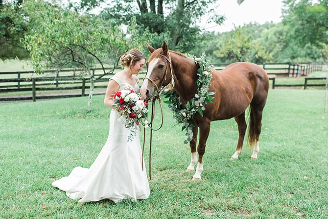 Bride with a horse | Fall Wedding at Historic Virginia Estate | Lieb Photographic LLC