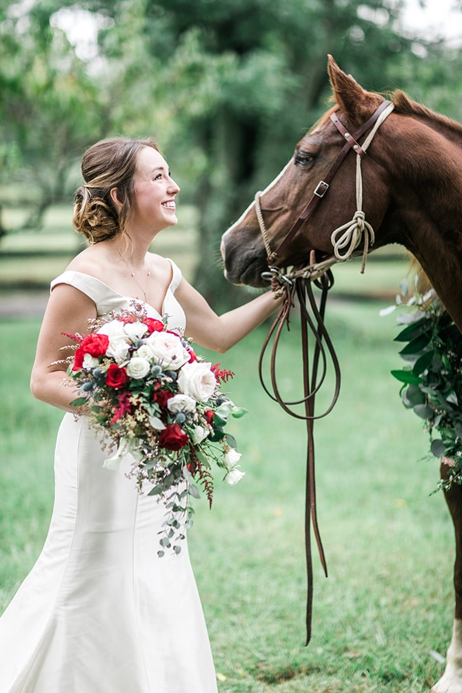Bride smiling with horse | Fall Wedding at Historic Virginia Estate | Lieb Photographic LLC