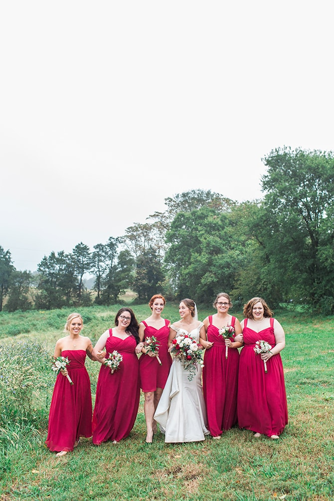 Bride with bridesmaids in red gowns | Fall Wedding at Historic Virginia Estate | Lieb Photographic LLC