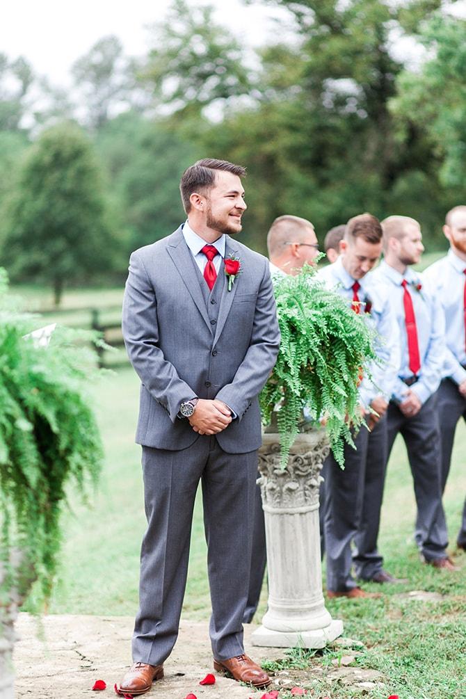 Groom watching Bride walk down aisle | Fall Wedding at Historic Virginia Estate | Lieb Photographic LLC