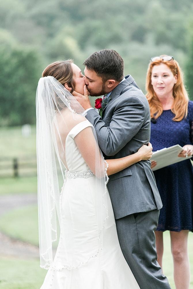 First kiss | Fall Wedding at Historic Virginia Estate | Lieb Photographic LLC