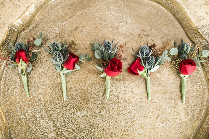 Red and Green buttonholes | Fall Wedding at Historic Virginia Estate | Lieb Photographic LLC
