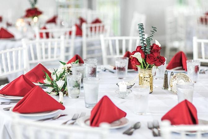 Wedding with red decor | Fall Wedding at Historic Virginia Estate | Lieb Photographic LLC