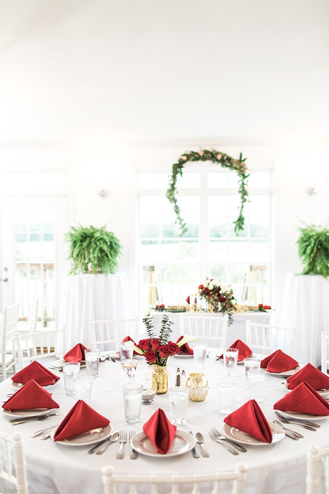 Wedding with red, white and green decor | Fall Wedding at Historic Virginia Estate | Lieb Photographic LLC