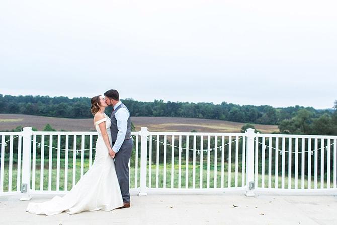 Couple on balcony | Fall Wedding at Historic Virginia Estate | Lieb Photographic LLC