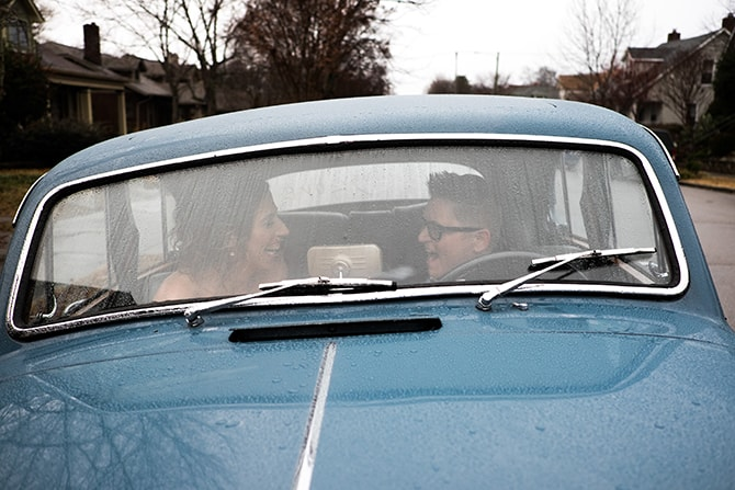 Brides in car | Intimate Winter Wedding in Tennessee | Jay Farrell Photography