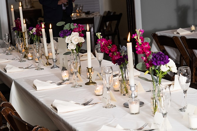 Wedding reception table | Intimate Winter Wedding in Tennessee | Jay Farrell Photography