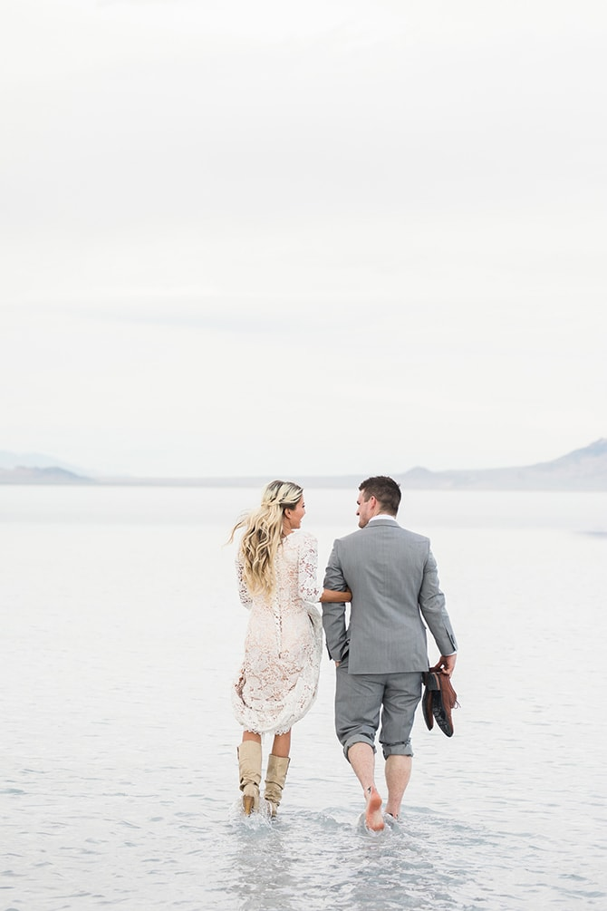 Modern Wedding Portraits At Bonneville Salt Flats