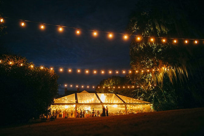 Clear tent at night | Stunning Southern Plantation Wedding | Gideon Photography