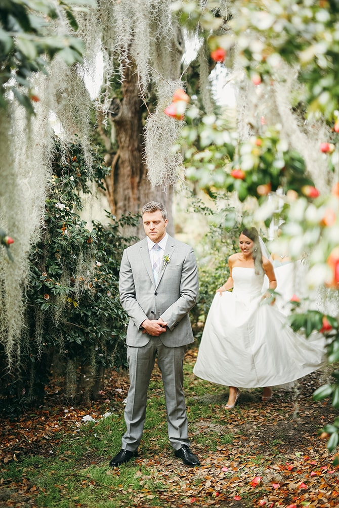 Wedding first look | Stunning Southern Plantation Wedding | Gideon Photography