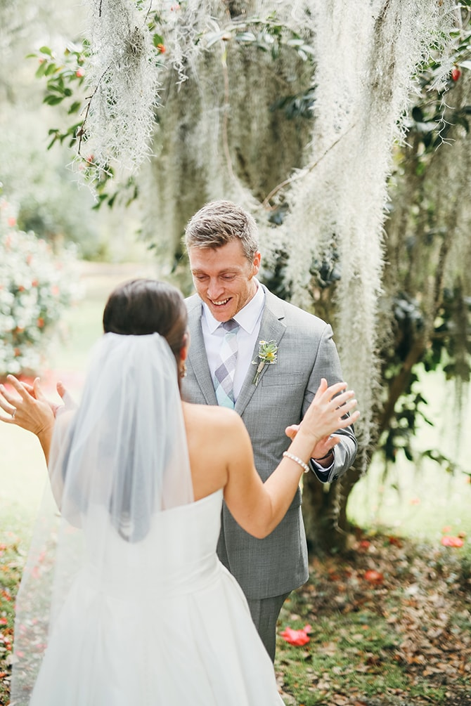 Bride and Groom first look | Stunning Southern Plantation Wedding | Gideon Photography