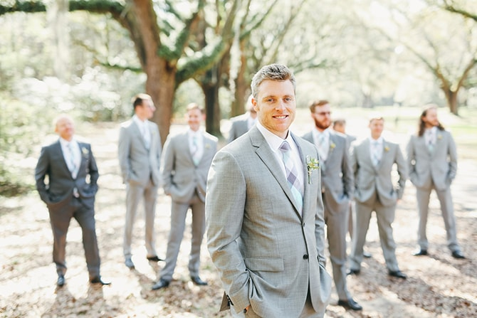 Modern grey wedding suits | Stunning Southern Plantation Wedding | Gideon Photography