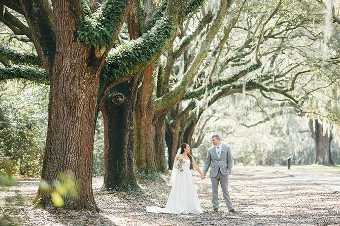 Bride and Groom in woodland | Stunning Southern Plantation Wedding | Gideon Photography