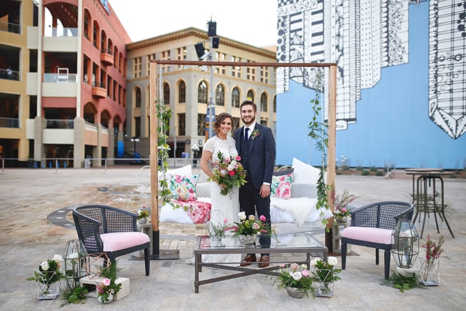 Outdoor wedding | Urban Chic City Wedding at Horton Plaza | Willmus Weddings