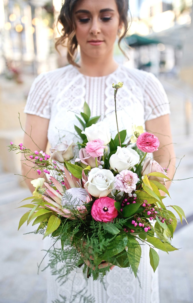 Pink, white and green bridal bouquet | Urban Chic City Wedding at Horton Plaza | Willmus Weddings