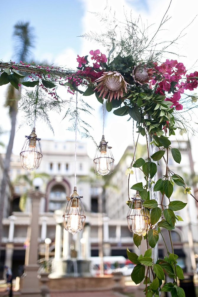Modern floral backdrop | Urban Chic City Wedding at Horton Plaza | Willmus Weddings