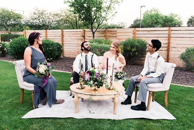 Wedding guests relaxing | Casually Modern Wedding Inspiration | Mindy DeLuca Photography