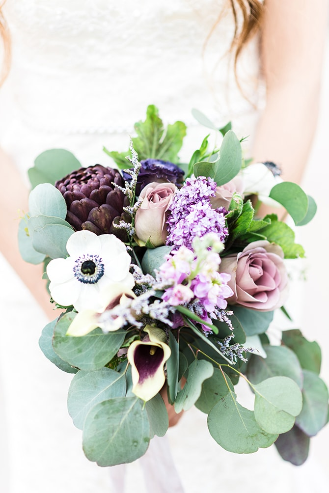 Green and purple modern bridal bouquet | Casually Modern Wedding Inspiration | Mindy DeLuca Photography