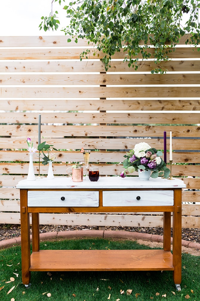 Wedding drinks table | Casually Modern Wedding Inspiration | Mindy DeLuca Photography