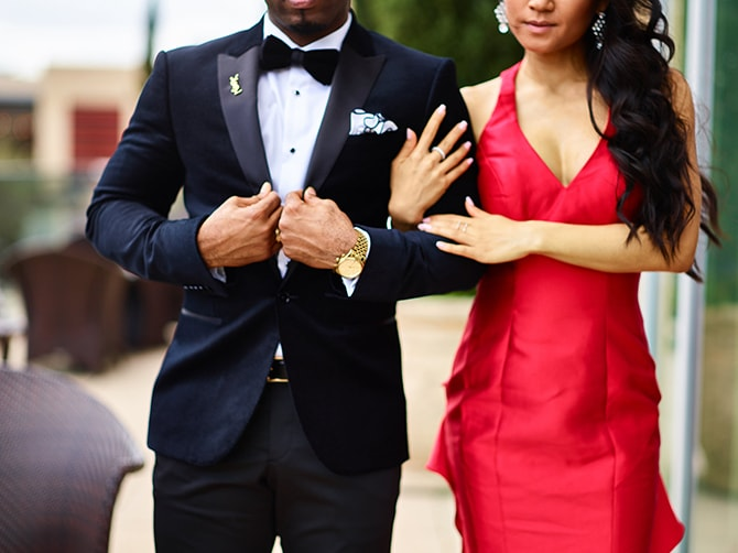 Black tie suit with red dress | City Honeymoon Fashion Inspiration | CivicPhotos